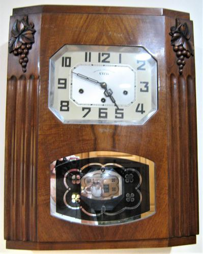 Lovely French Art Deco Westminster Chiming Wall Clock by Stem (1 of 6)