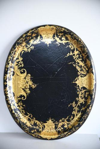 Black & Gilded Papier Mache Tray (1 of 10)