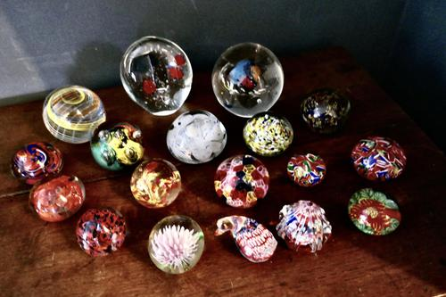 Collection of 18 Vintage Art Glass Millefiori Weights (1 of 6)