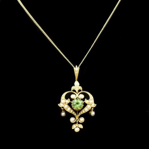 Antique Peridot and Pearl Lavalier 15ct 15K Gold Drop Pendant Necklace and Brooch (1 of 11)