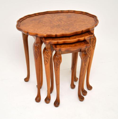 Antique Burr Walnut Pie Crust Nest of Tables (1 of 8)