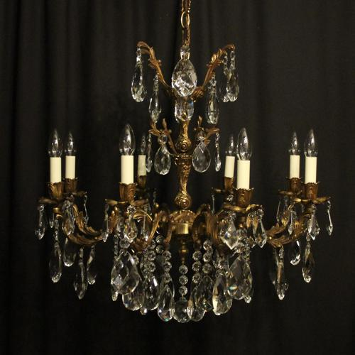 Italian Gilded Brass 8 Light Antique Chandelier (1 of 9)