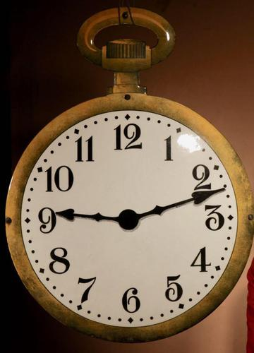 Very Large Pocket Watch Clock makers Enamel Double Sided Shop Window Sign (1 of 9)