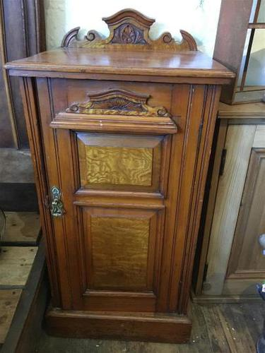 Antique Edwardian Satinwood Bedside Table Night Stand (1 of 7)