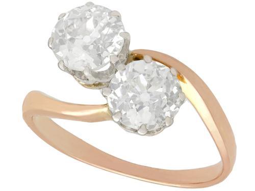 1.57ct Diamond & 18ct Rose Gold Twist Ring - Antique c.1910 (1 of 9)
