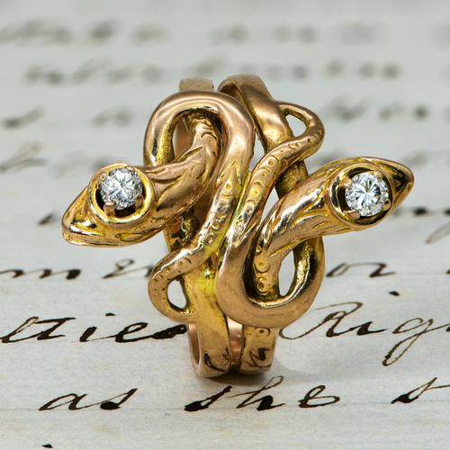 The Antique Late Victorian Diamond Crowned Snake Ring (1 of 5)