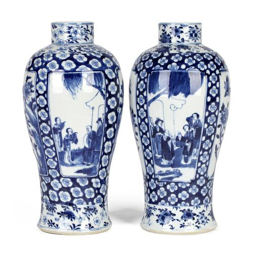 Chinese Pair of Large Blue & White Panel Vases with Figures Qing Dynasty (1 of 25)