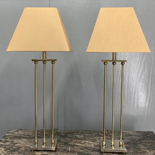 Pair of Chrome & Brass Rodded Table Lamps (1 of 9)