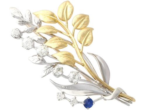 0.22ct Sapphire & 1.82ct Diamond, 18ct Yellow & White Gold Spray Brooch c.1930 (1 of 9)