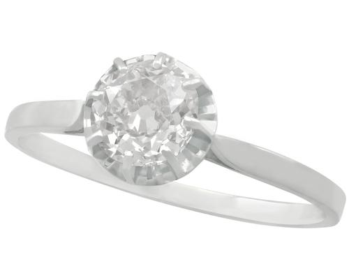1.70ct Diamond & 18ct White Gold Solitaire Ring - Antique French c.1920 (1 of 9)