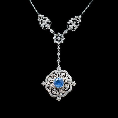 Antique Old Cut Blue Paste Drop Sterling Silver Pendant Necklace (1 of 12)