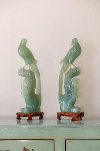 Pair of Chinese Carved Jade Birds of Paradise on Stands (1 of 15)
