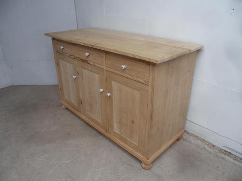 Victorian Large Antique Pine 3 Door 3 Drawer Storage Cupboard to wax / paint (1 of 8)
