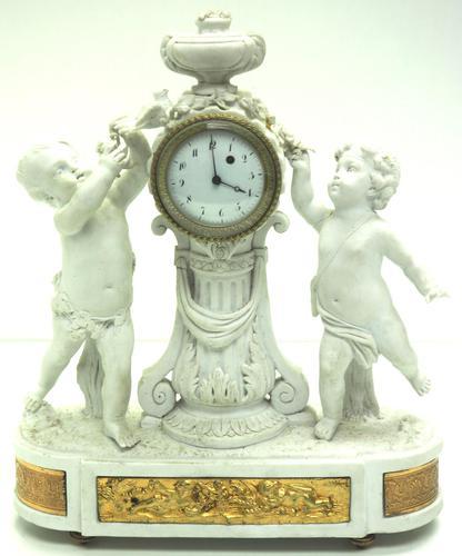 French Empire Figural Mantel Clock – Bisque Porcelain Cherub Verge Mantle Clock c.1800 (1 of 13)