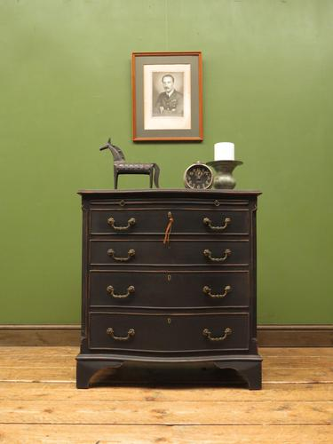 Antique Reproduction Black Painted Chest of Drawers, Lockable Bachelors Chest (1 of 17)