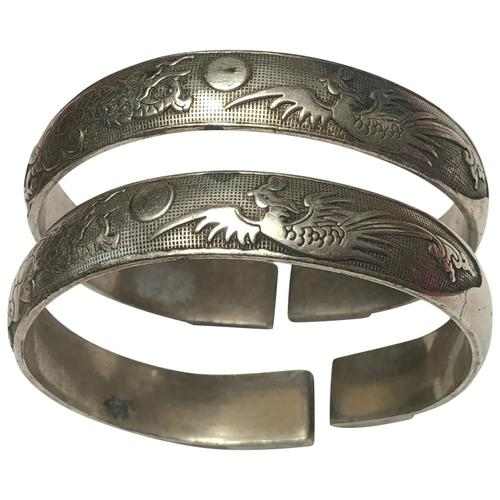 Pair Chinese Republic Silver Plate Bracelet Bangles Dragons Fenghuang Phoenix (1 of 12)