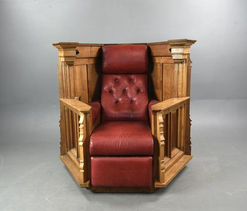 Rare Carved Linenfold Oak Pulpit Reading Chair (1 of 7)