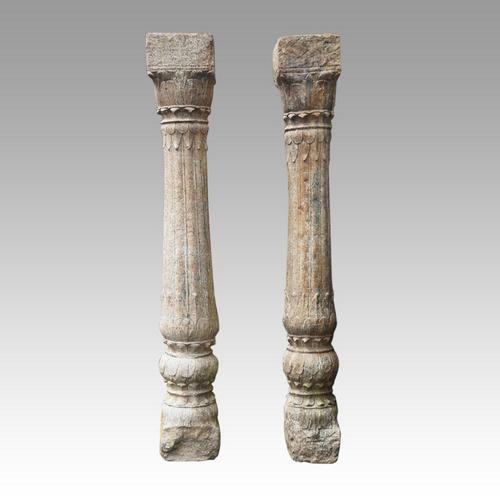 Pair of Antique Carved Sandstone Columns (1 of 4)