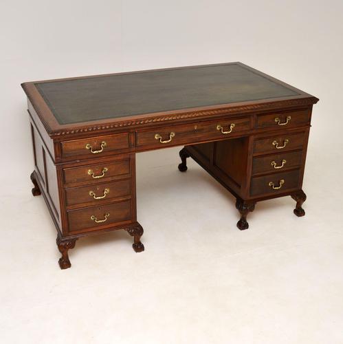 Antique Mahogany Leather Top  Pedestal Desk (1 of 12)