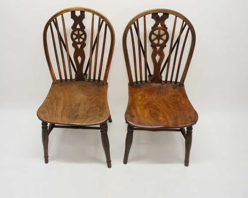 Near Pair of Victorian Windsor Wheel Back Kitchen Chairs in Beech & Elm (1 of 12)