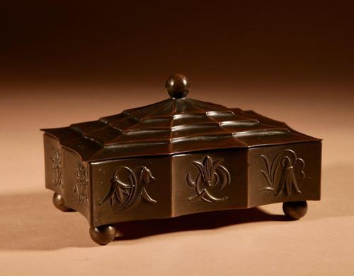 Original Patinated Metal Rectangular Box in the Style of Dagobert Peche Winer Werkstätte (1 of 9)