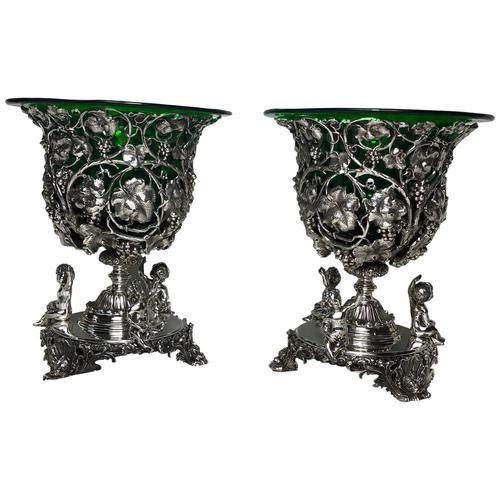 Pair English Sheffield Silver Champagne Rock Crystal Ice Cooler Cherub Vases (1 of 12)