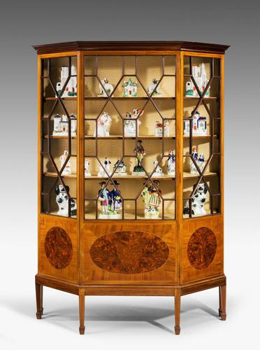Edwardian Period Mahogany Display Cabinet with Offset Side Panels (1 of 8)