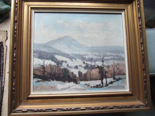"Aubrey R Phillips RWA (1920-2005):  Oil On Board Landscape ""Winter at Malvern"" (1 of 5)"
