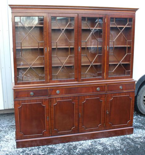 1960s Large 4 Door Mahogany Bookcase with Glazed Top (1 of 4)