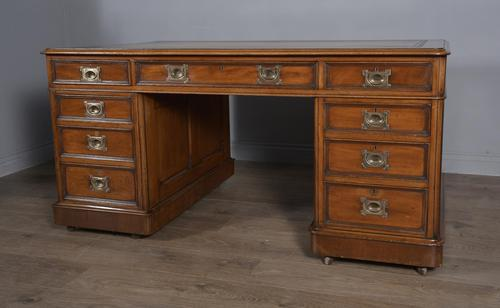 Antique Victorian 5ft Mahogany Pedestal Desk (1 of 7)