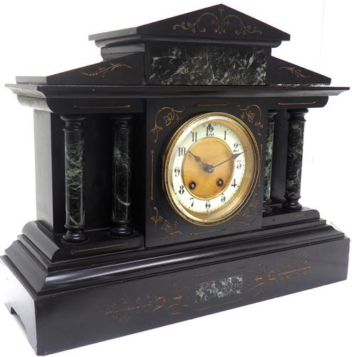 Fine Slate & Marble Mantel Clock 8 Day Striking Mantle Clock (1 of 9)