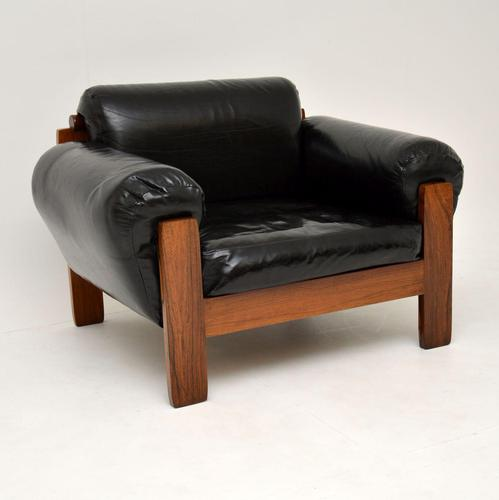1960's Danish Vintage Leather & Rosewood Armchair (1 of 12)