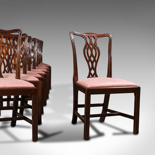 8 Antique Chippendale Revival Chairs, English, Mahogany, Dining Seat, Victorian (1 of 12)