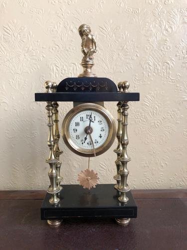 Rare Antique French Small Portico Alarm Clock (1 of 7)