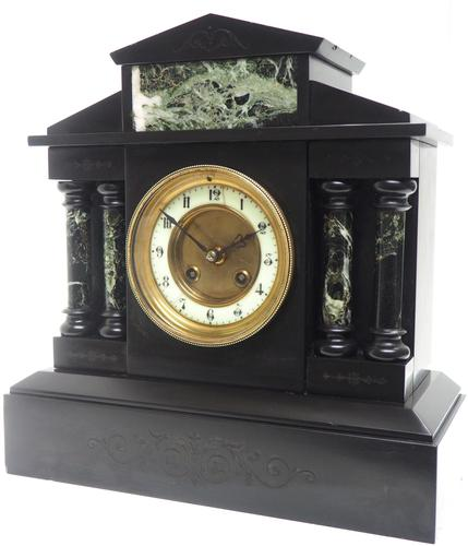 Antique French Slate & Green Marble Mantel Clock Striking 8-day (1 of 9)