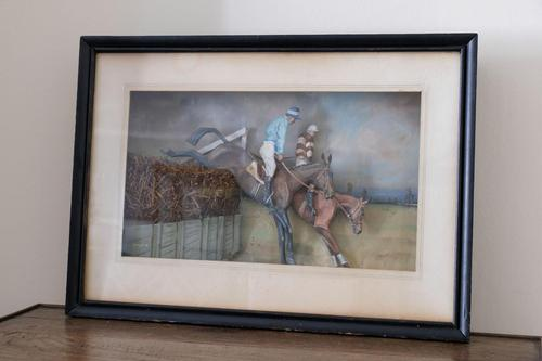 Diorama of Two Racehorses Jumping (1 of 8)