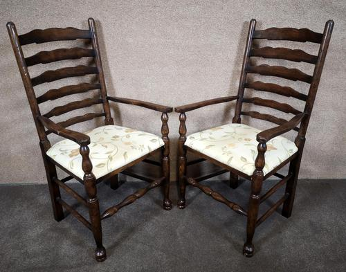 Pair Of Oak Ladder Back Armchairs (1 of 9)