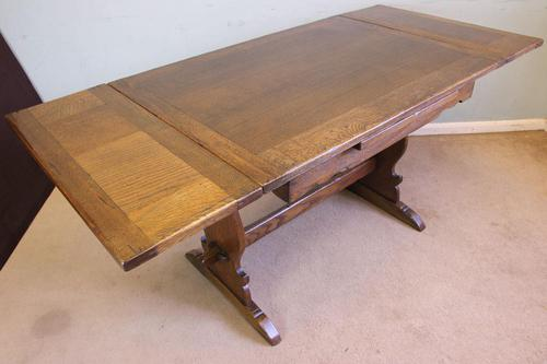 Refectory Oak Draw Leaf Dining Table c.1930 (1 of 11)