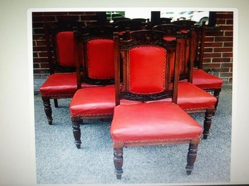 Six Beautiful 'one needs slight repair' Red Leather High Back Chairs - Boardroom / Council Office (1 of 6)