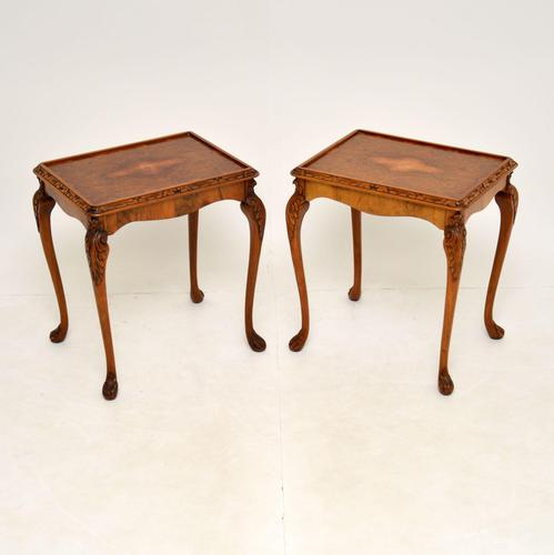 Pair of Antique Queen Anne Style Burr Walnut Side Tables (1 of 8)