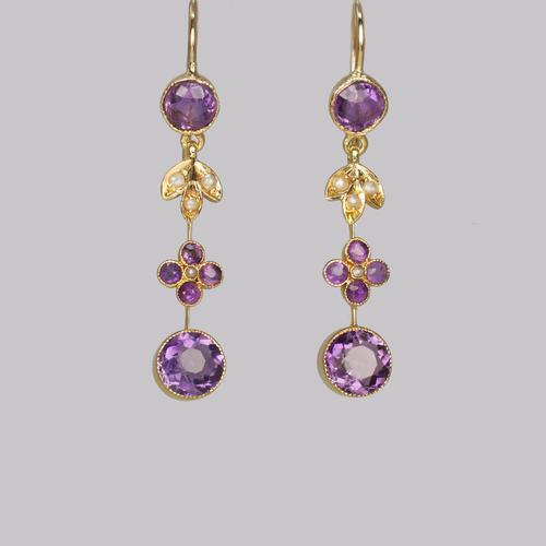 Victorian Amethyst & Seed Pearl Drop Earrings 18ct Gold Antique Floral Dangle Earrings (1 of 8)