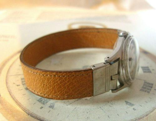 Vintage Wrist Watch Strap 1940s WW2 Military 16mm Brown Pig Skin Spring Loaded Ends Nos (1 of 12)