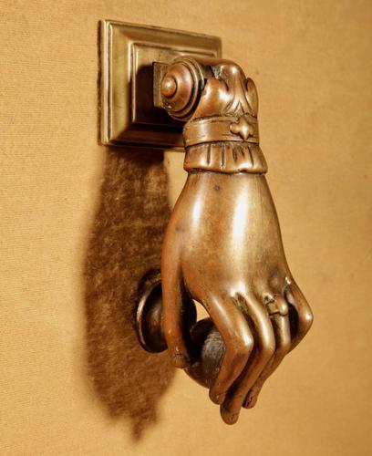 Interesting Bronze Door Knocker in the Shape of a Hand (1 of 8)