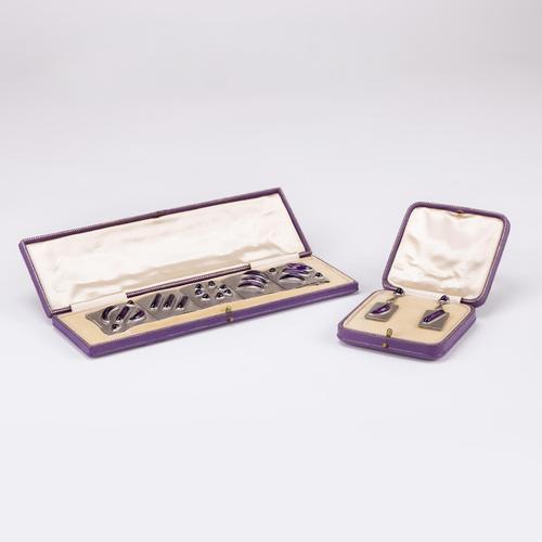 Vintage Retro Platinum and 40 Carat Amethyst Bracelet and Earring Suite c.1960 (1 of 10)