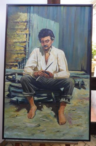 Large oil on canvas The worker Brazilian artist Chediac (Free shipping to Mainland England) (1 of 10)