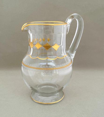 Superb Victorian Etched & Gilded Water Jug (1 of 4)