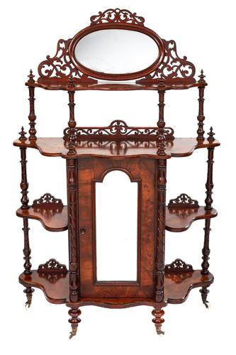 Victorian Walnut 4 Tier Whatnot with Centre Mirrored Cupboard (1 of 5)