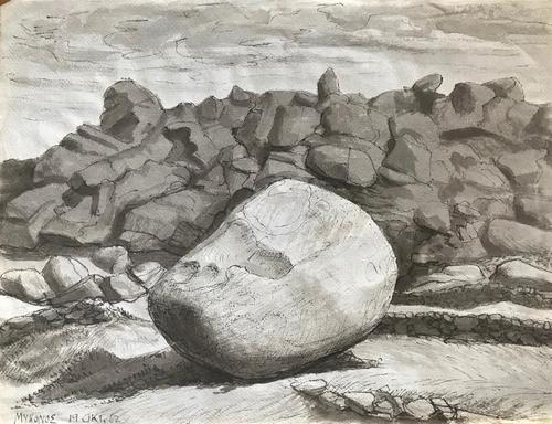 Original Watercolour 'Rocky Shoreline Mykonos, 19th Oct 1962 by C. Neville Bertram 1908-1999 (1 of 1)