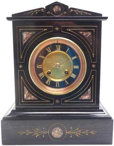 French Slate & Marble Mantel Clock 8 Day Striking Mantle Clock (1 of 8)