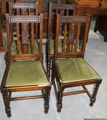 1940s Set 4 Oak Barley Twist Dining Chairs with Green Seats (1 of 3)